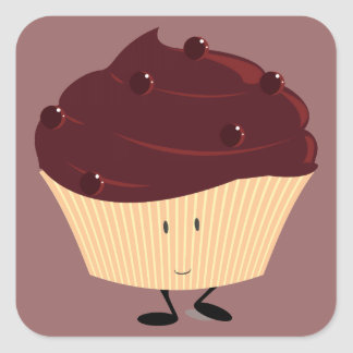 Magdalena helada chocolate sonriente pegatina cuadrada