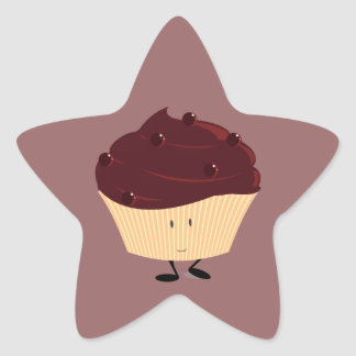 Magdalena helada chocolate sonriente pegatina en forma de estrella