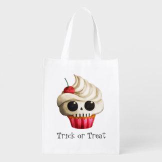 Magdalena mortal del cráneo de Halloween Bolsas Reutilizables