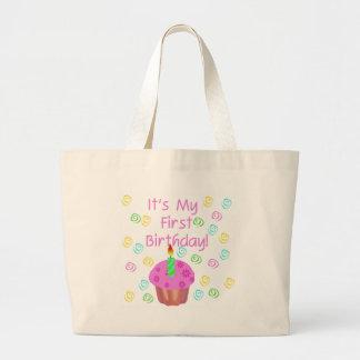 Magdalena rosada con de la vela cumpleaños primero bolsa tela grande