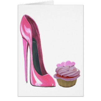 Magdalena rosada con los corazones y zapato rosado tarjeta pequeña