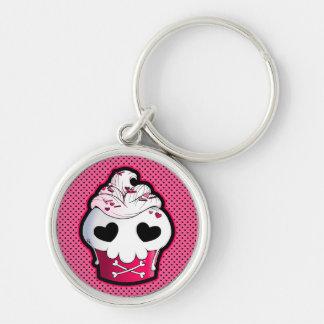 Magdalena rosada del cráneo llavero redondo plateado