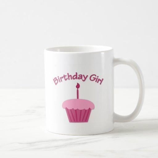 Magdalena rosada del cumpleaños taza