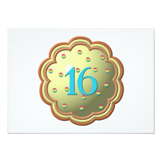 """magdalena """"tridimensional"""" w/sprinkles y los # 16 invitación 5"""" x 7"""""""
