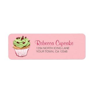 Magdalena verde en etiqueta rosada del remite etiqueta de remite