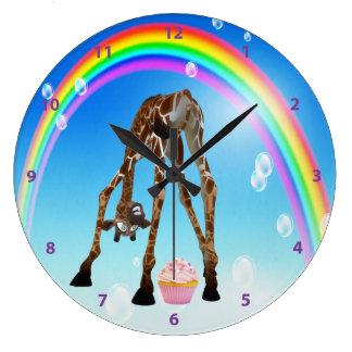 Magdalena y arco iris caprichosos divertidos de la reloj de pared