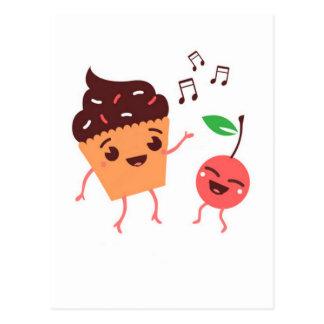 Magdalena y cereza musicales tarjetas postales