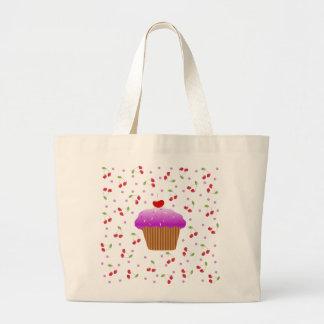 Magdalena y cerezas bolsa tela grande