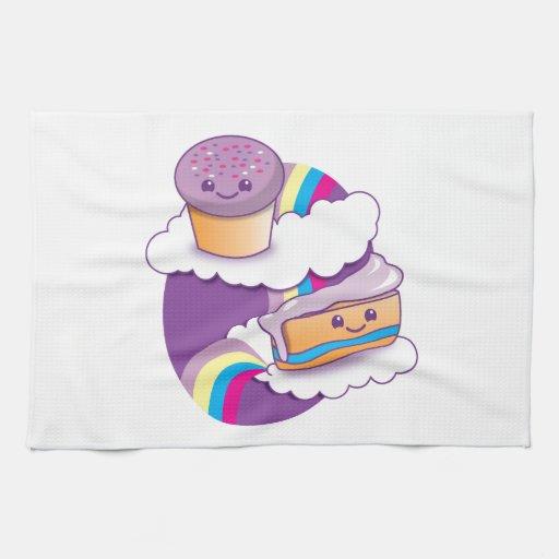 Magdalena y rebanada en un arco iris toallas de mano