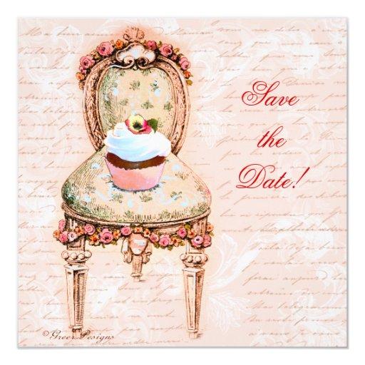 """Magdalena y silla de la fiesta del té invitación 5.25"""" x 5.25"""""""