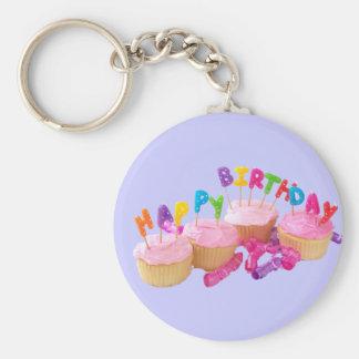 Magdalena y velas del feliz cumpleaños llaveros personalizados