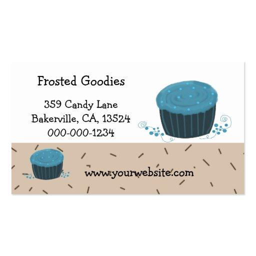 Magdalenas azules heladas tarjetas de visita