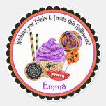 Magdalenas de Halloween y pegatinas del caramelo