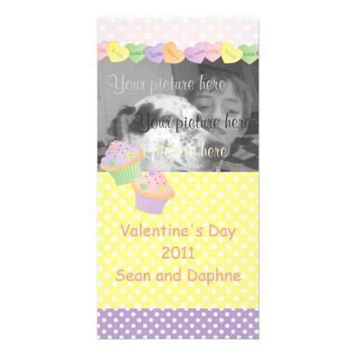 Magdalenas de los corazones del caramelo tarjeta personal con foto