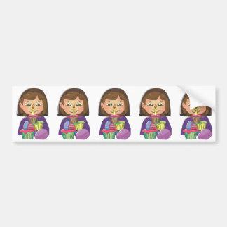 Magdalenas del chica del cumpleaños etiqueta de parachoque