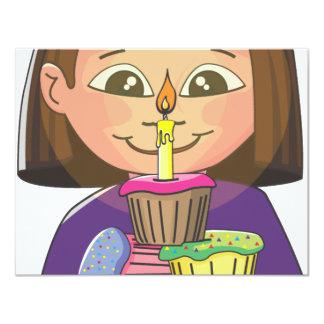 """Magdalenas del chica del cumpleaños invitación 4.25"""" x 5.5"""""""