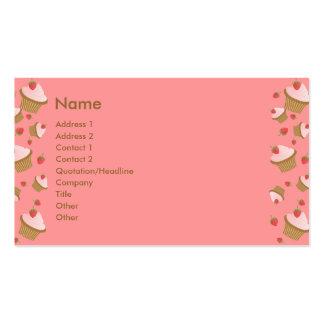 Magdalenas del chocolate de la fresa tarjetas de visita