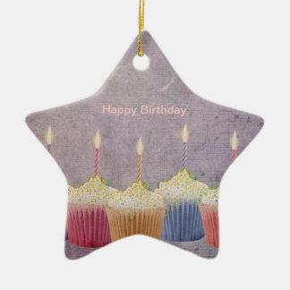 Magdalenas del cumpleaños - velas - ornamento de adorno navideño de cerámica en forma de estrella