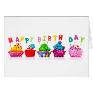 Magdalenas del feliz cumpleaños tarjeta de felicitación