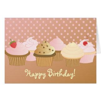 Magdalenas del feliz cumpleaños tarjeta pequeña