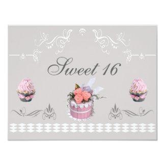 """Magdalenas elegantes rosa y dulce gris 16 invitación 4.25"""" x 5.5"""""""