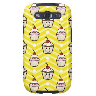 Magdalenas felices en las rayas amarillas de Chevr Galaxy S3 Cárcasa