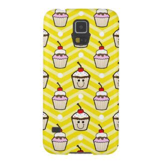 Magdalenas felices en las rayas amarillas de Chevr Carcasas De Galaxy S5