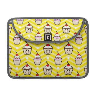 Magdalenas felices en las rayas amarillas de Chevr Funda Para Macbooks