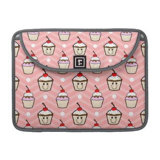 Magdalenas felices en las rayas rosadas de Chevron Fundas Para Macbook Pro