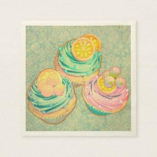 magdalenas lindas con diseño del papel pintado servilleta de papel