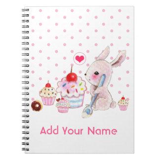 Magdalenas lindas del conejito y del kawaii - pers spiral notebooks