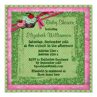 Magdalenas lindas y fiesta de bienvenida al bebé invitacion personalizada