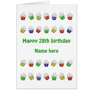 magdalenas personalizadas 28vo cuarto cumpleaños tarjeta de felicitación