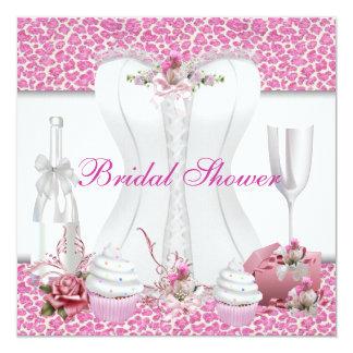 Magdalenas rosadas blancas Champán de la ducha Invitación 13,3 Cm X 13,3cm