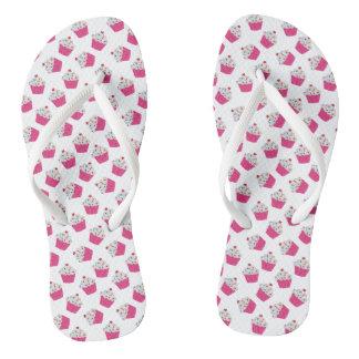Magdalenas rosadas felices del corazón - modelo chanclas