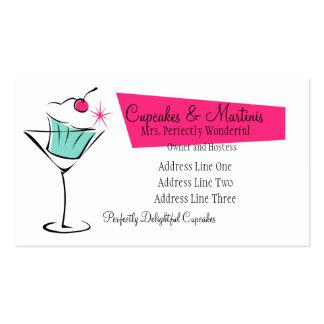 Magdalenas y martinis en rosas fuertes tarjeta de negocio