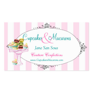 Magdalenas y tarjeta de visita de Macarons