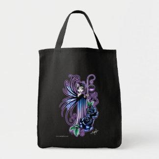 """Magdalene"" Gothic Blue Rose Fairy Canvas Bag"