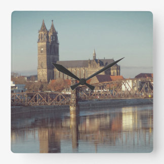 Magdeburg Cathedral with river Elbe 01.2.F Square Wall Clock