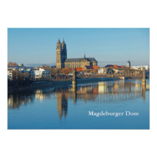 Magdeburg Cathedral with river Elbe 01.2.T Poster
