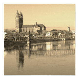 Magdeburg Cathedral with river Elbe 01.F Poster