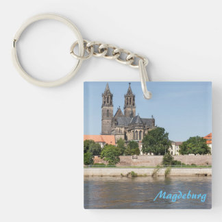 Magdeburg Elbe view photo Keychain