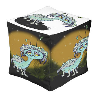 MAGE ALIEN monster Polyester Cubed Pouf LARGE