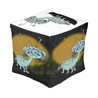 MAGE ALIEN monsters Polyester Cubed Pouf Small
