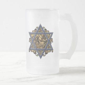 Magen David Gold Frosted Glass Beer Mug
