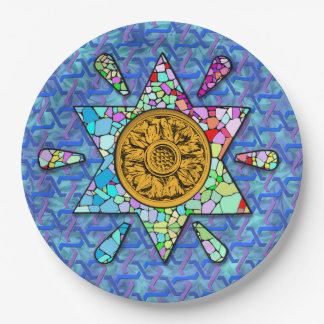 Magen David with mosaic and knotwork 9 Inch Paper Plate