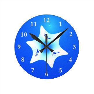 Magen Lavan (White Star) Round Clock