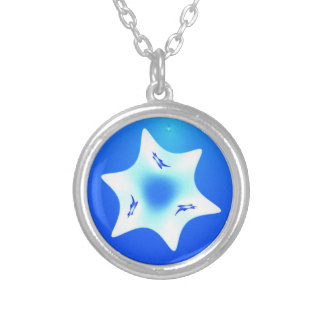 Magen Lavan (White Star) Silver Plated Necklace