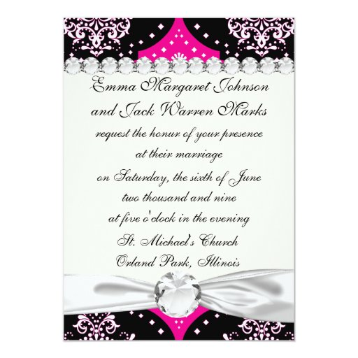 magent pink black white henna damask 5x7 paper invitation card