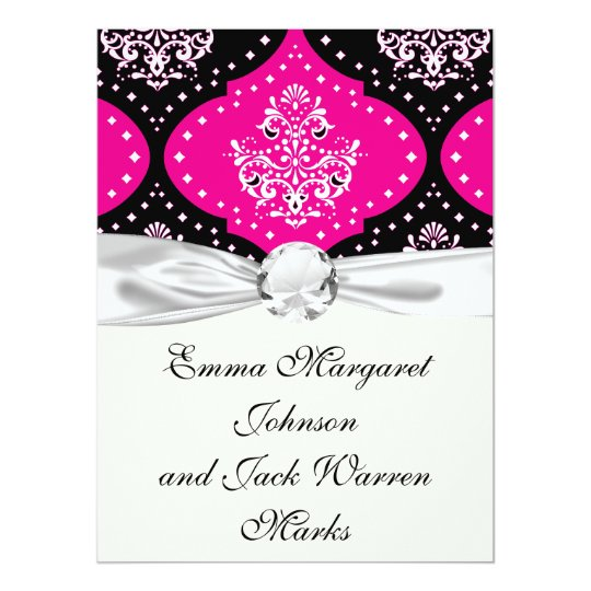 magent pink black white henna damask card
